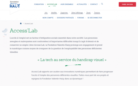 Photo de la page d'accueil d'Access'lab